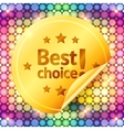 Golden best choice sticker on disco lights vector image