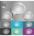 Oval glass speech bubble icons with soft shadow on vector image