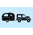 Silhouette camping car vector image
