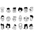 doodle crowd face icons vector image vector image