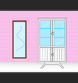 wardrobe with mirror vector image