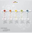 5 steps timeline presentation template vector image