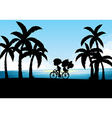 Silhouette of man and woman cycling vector image vector image