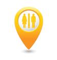 toilet map pointer yellow drop vector image vector image