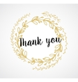 Thank you - card with gold laurel wreath and text vector image vector image
