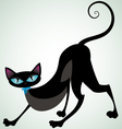 black cat with blue ribbon front vector image vector image