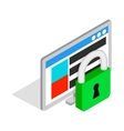 Computer monitor and padlock icon isometric 3d vector image