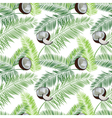 Coconut palm leaves seamless pattern on white vector image