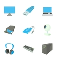 Computer icons set cartoon style vector image