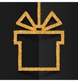 Golden glitter gift box silhouette frame with vector image