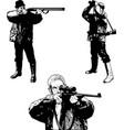 hunters sketch set - vector image