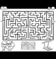 maze or labyrinth activity for coloring vector image