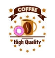 Cafe menu icon Coffee cup and donut vector image vector image