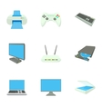 Computer protection icons set cartoon style vector image