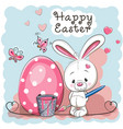 cute white rabbit vector image