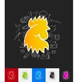 cock paper sticker with hand drawn elements vector image