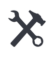 Wrench and hammer isolated on white background vector image