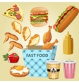 different parts chicken product fast food vector image vector image