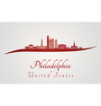 Philadelphia skyline in red vector image
