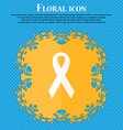 ribbon breast cancer awareness month icon Floral vector image