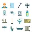 Sanitary engineering flat icons vector image
