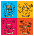 SET OF CARNIVAL CHARACTERS IN MASKS COSTUMES vector image