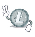 two finger litecoin character cartoon style vector image