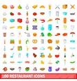100 restaurant icons set cartoon style vector image vector image