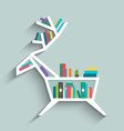 bookshelf in form of deer with colorful books vector image