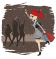 shopping woman running vector image vector image