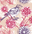 floral seamless pattern with bird vector image vector image