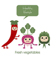 Cartoon Cute smiling vegetables radish artichok vector image