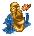 Coral reef clown fish and Golden statue of Maya vector image
