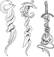blades with snakes and skull vector image