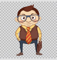 cartoon businessman with leather briefcase vector image