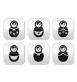 Russian doll retro matrioshka buttons set vector image