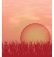 Sunset background with sun and grass vector image