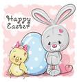 cute cartoon chicken rabbit and egg vector image