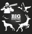 big hunting elements on blackboard vector image vector image