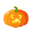 Pumpkin jack-o-lantern with scared face cartoon vector image