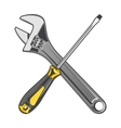 Wrench and yellow screwdriver vector image