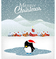 Cute Christmas penguin vector image