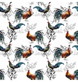 Seamless watercolor pattern with farm roosters vector image
