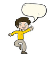 cartoon excited boy dancing with speech bubble vector image