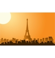 Silhouette of eiffel tower at sunrise vector image