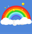 beautiful rainbow on clouds with star at night vector image