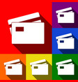 credit card sign set of icons with flat vector image