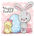 cute cartoon chicken rabbit and egg vector image