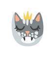 cute cat head in golden crown funny cartoon vector image