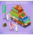Food Truck 12 Isometric Vehicles vector image